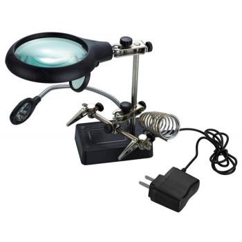 Лупа Kromatech настольная 2,5x/7,5x/10x, 34/90 мм, с держателем и подсветкой (5 LED) MG16129-С