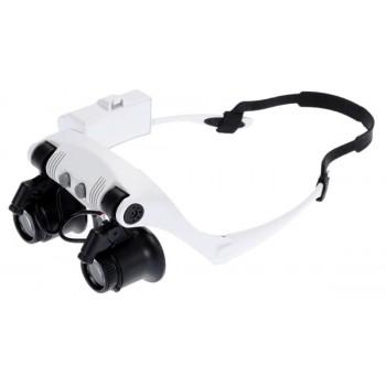 Лупа-очки Kromatech налобная бинокулярная 10/15/20/25x, с подсветкой (2 LED) MG9892G-3A