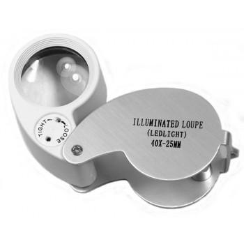 Лупа Kromatech ювелирная 40х, 25 мм, с подсветкой (2 LED) MG21011