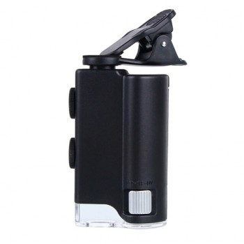 Микроскоп карманный Kromatech 60-100x мини, с креплением для смартфона, подсветкой (1 LED) и ультраф