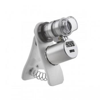 Микроскоп Kromatech 60x мини, с креплением для смартфона, подсветкой (2 LED) и ультрафиолетом (9882)