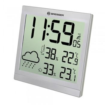 Метеостанция (настенные часы) Bresser TemeoTrend JC LCD с радиоуправлением, серебристая