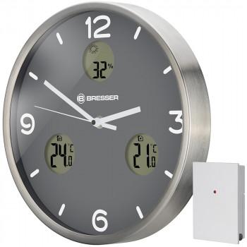 Часы настенные Bresser MyTime io NX Thermo/Hygro, 30 см, серые