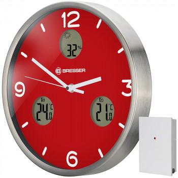 Часы настенные Bresser MyTime io NX Thermo/Hygro, 30 см, красные