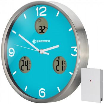 Часы настенные Bresser MyTime io NX Thermo/Hygro, 30 см, голубые